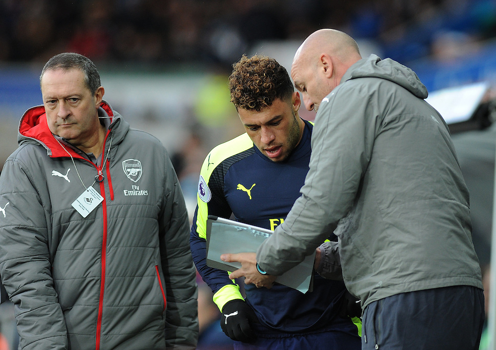 Arsenal's Alex Oxlade-Chamberlain receives instructions before being sent on to the field <br /> <br /> Photographer /Ashley Crowden CameraSport<br /> <br /> The Premier League - Swansea City v Arsenal  - Saturday 14th January 2017 - Liberty Stadium - Swansea <br /> <br /> World Copyright © 2017 CameraSport. All rights reserved. 43 Linden Ave. Countesthorpe. Leicester. England. LE8 5PG - Tel: +44 (0) 116 277 4147 - admin@camerasport.com - www.camerasport.com