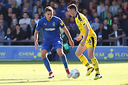 AFC Wimbledon defender Ben Purrington (3) battles for possession with Oxford United attacker Gaving Whyte (16) during the EFL Sky Bet League 1 match between AFC Wimbledon and Oxford United at the Cherry Red Records Stadium, Kingston, England on 29 September 2018.