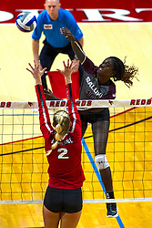 BLOOMINGTON, IL - September 28: Savannah Sheridan during a college Women's volleyball match between the ISU Redbirds and the Southern Illinois Salukis on September 28 2019 at Illinois State University in Normal, IL. (Photo by Alan Look)