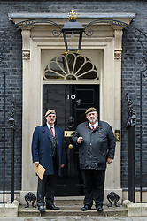 © Licensed to London News Pictures. 26/04/2016. London, UK. <br /> <br /> Roy Brinkley, former Grenadier Guards and Robin Horsfall, former 22 SAS before handing in a Petition 'Justice for Northern Ireland Veterans' to No 10 Downing St.  <br />  Photo credit: Anthony Upton/LNP