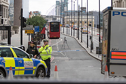 London, June 4th 2017. GV -Police guard the cordon on London Bridgeduring a massive policing operation in the aftermath of the terror attack on London Bridge and Borough Market on the night of June 3rd which left seven people dead and dozens injured