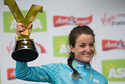 Lizzie Deignan (GBR) of Boels-Dolmans Cycling Team holds the winner's trophy after winning the Tour de Yorkshire - a 122.5 km road race, between Tadcaster and Harrogate on April 29, 2017, in Yorkshire, United Kingdom.