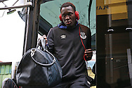 Romelu Lukaku of Everton arrives at Vicarage Road Stadium via the team coach. Premier league match, Watford v Everton at Vicarage Road in Watford, London on Saturday 10th December 2016.<br /> pic by John Patrick Fletcher, Andrew Orchard sports photography.