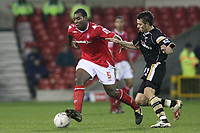 Photo: Pete Lorence.<br />Nottingham Forest v Charlton Athletic. The FA Cup. 06/01/2007.<br />Wesley Morgan on the run against Darren Ambrose.