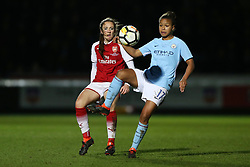Arsenal Ladies' Lisa Evans and Manchester City Women's Nikita Parris during the Continental Tyres Cup Final at Adams Park, Wycombe.