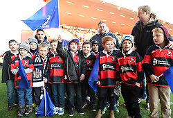 Junior players from Gordano RFC participating in a half-time parade during the Bristol Rugby game against Yorkshire Carnegie- Photo mandatory by-line: Paul Knight/JMP - Mobile: 07966 386802 - 18/01/2015 - SPORT - Rugby - Bristol - Ashton Gate Stadium - Bristol Rugby v Yorkshire Carnegie - Greene King IPA Championship
