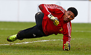 Myles Roberts of Watford during the pre-match warm-up during under-23 professional development league match between Watford and Charleton Athletic at Charleton Athletic Park Stadium, Monday, Feb. 3, 2020, in St. Albans, United Kingdom. (Mitchell Gunn-ESPA Images/Image of Sport)