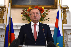 Russian ambassador Alexander Vladimirovich Yakovenko speaking at a news conference at his country's embassy in London in the aftermath of the Salisbury nerve agent attack on Russian double agent Sergei Skripal and his daughter Yulia.