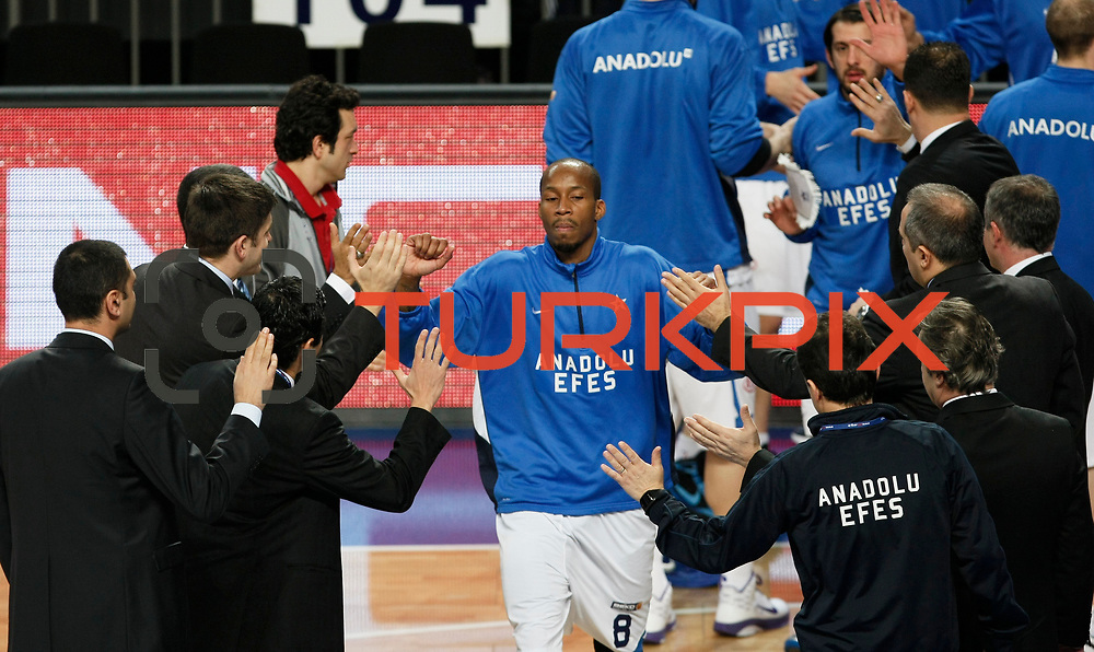Anadolu Efes's Terence Kinsey during their Turkish Basketball League match Anadolu Efes between Mersin BSB at Sinan Erdem Arena in Istanbul, Turkey, Saturday, January 14, 2012. Photo by TURKPIX