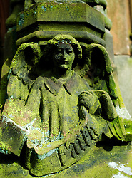 Detail of carving at historic Roslin Chapel near Edinburgh with the inscription Faith