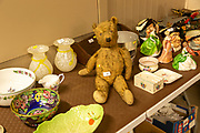 Vintage teddy bear for sale at auction labels with other table top items