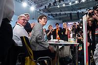 07 DEC 2018, HAMBURG/GERMANY:<br /> Annegret Kramp-Karrenbauer, CDU Generalsekretaerin und Kandidatin fuer das Amt der Parteivorsitzenden der CDU, nach Ihrer Bewerbungsrede, auf ihrem Platz in den Reihen der Delegierten aus dem Saarland, CDU Bundesparteitag, Messe Hamburg<br /> IMAGE: 20181207-01-134<br /> KEYWORDS: party congress