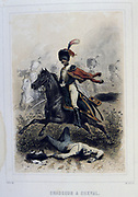 Light Cavalryman. From 'Napoleon 1er et la Garde Imperiale' by Eugene Fieffe, Paris, 1858.