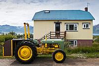 GamallFerguson fyrir utan húsið Sólvang í Hrísey. An old Ferguson tractor parked outside Solvangur house at Hrisey island.