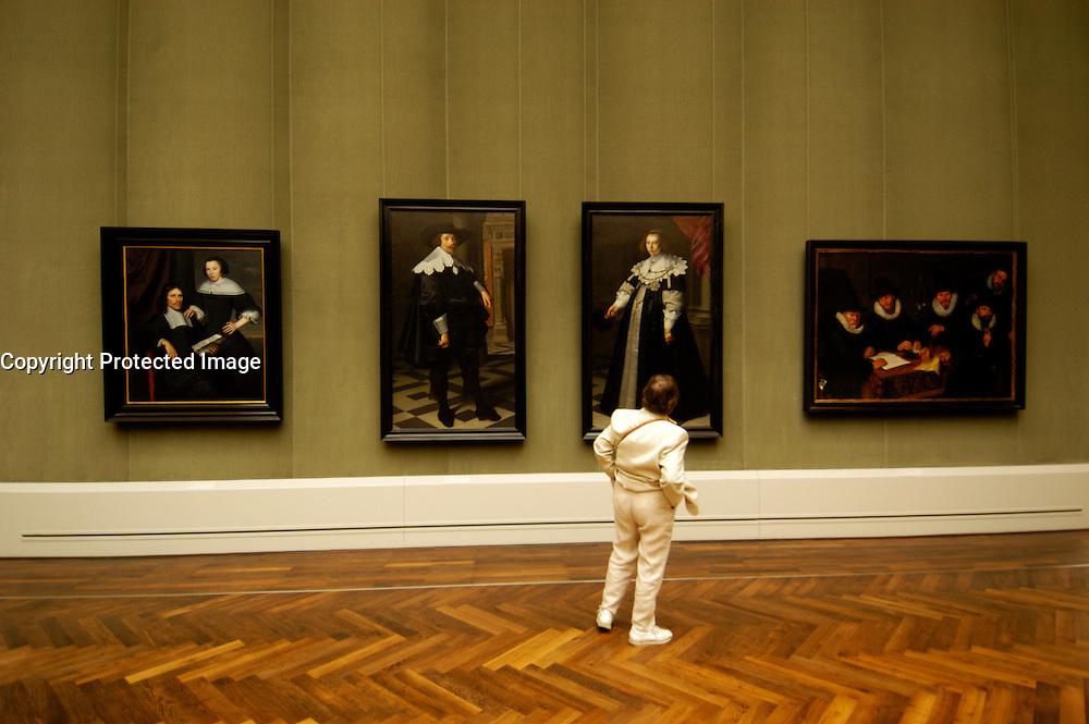 Interior view of paintings in Gemaldegalerie in Berlin Germany