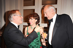 Left to right, LORD ARCHER, KATHY LETTE and PETER SNOW at a gala dinner in celebration of 80 years since the first Foyles Literary Luncheon, held in The Ball Room, Grosvenor House Hotel, Park Lane, London on 21st October 2010.