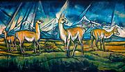 Street art, mural depicting guanacos on pampa, Puerto Natales, Patagonia, Chile.