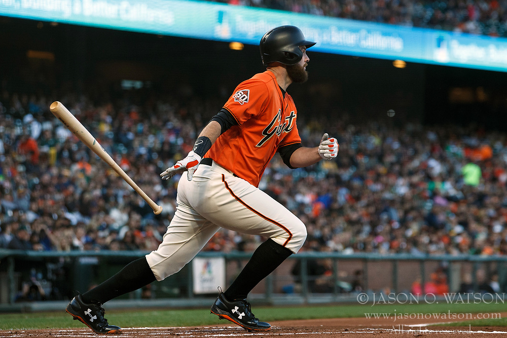 SAN FRANCISCO, CA - JULY 13: Brandon Belt #9 of the San Francisco Giants at bat against the Oakland Athletics during the first inning at AT&T Park on July 13, 2018 in San Francisco, California. The San Francisco Giants defeated the Oakland Athletics 7-1. (Photo by Jason O. Watson/Getty Images) *** Local Caption *** Brandon Belt