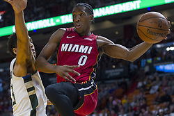 January 14, 2018 - Miami, FL, USA - Miami Heat guard Josh Richardson (0) passes the ball in the first quarter against the Milwaukee Bucks on Sunday, Jan. 14, 2018 at the AmericanAirlines Arena in Miami, Fla. (Credit Image: © Matias J. Ocner/TNS via ZUMA Wire)