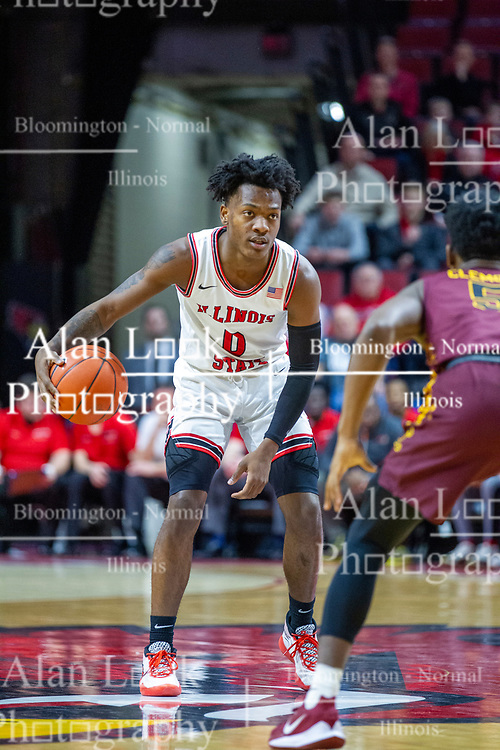 NORMAL, IL - January 19: DJ Horne defended by Keith Clemons during a college basketball game between the ISU Redbirds and the Loyola University Chicago Ramblers on January 19 2020 at Redbird Arena in Normal, IL. (Photo by Alan Look)