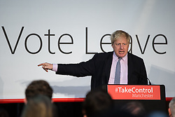 """© Licensed to London News Pictures . 15/04/2016 . Manchester , UK . BORIS JOHNSON speaks at a """" Vote Leave """" rally at Old Granada Studios , in Manchester . Photo credit: Joel Goodman/LNP"""