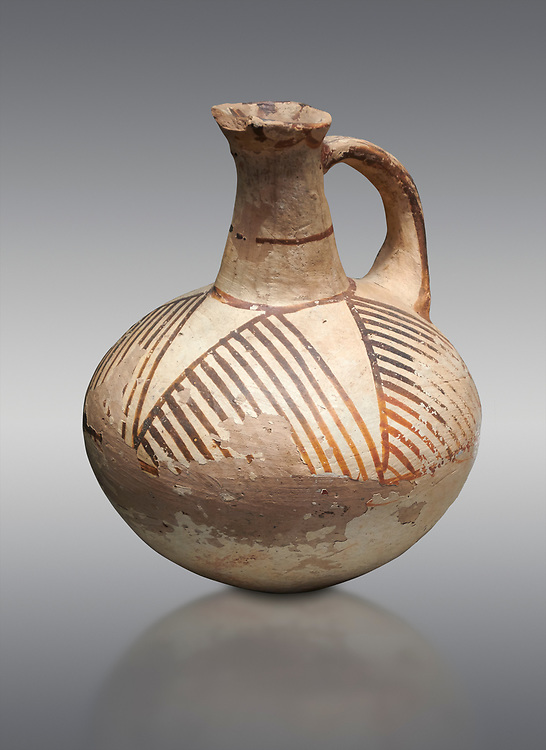 Cycladic ceramic jug with linear decoration. Cycladic II (2800-2300 BC) , Chalandriani, Syros. National Archaeological Museum Athens. Cat no 5147.   Grey background. .<br /> <br /> If you prefer to buy from our ALAMY PHOTO LIBRARY  Collection visit : https://www.alamy.com/portfolio/paul-williams-funkystock/cycladic-art-artefacts.html Type into the LOWER SEARCH WITHIN GALLERY box to refine search by adding background colour, place, museum etc<br /> <br /> Visit our CYCLADIC CIVILISATIONS PHOTO COLLECTIONS for more photos to download or buy as wall art prints https://funkystock.photoshelter.com/gallery-collection/Cycladic-civilisation-Ancient-Greek-Artefacts-art-Photos-Pictures-Images/C0000CmevVvnC.XU