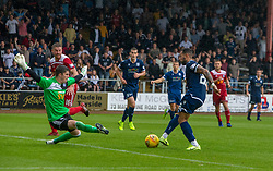 Ayr United's keeper Ross Doohan saves from Dundee's Kane Hemmings. Dundee 1 v 0 Ayr United, Scottish Championship game played 10/8/2019.