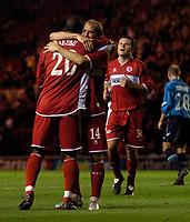 Photo: Jed Wee.<br />Middlesbrough v Dnipro. UEFA Cup. 03/11/2005.<br /><br />Middlesbrough's Gaizka Mendieta celebrates with goalscorer Yakubu.