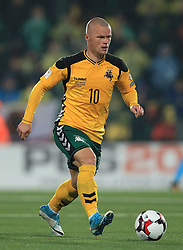 Lithuania's Darvydas Sernas during the 2018 FIFA World Cup Qualifying Group F match at the LFF Stadium, Vilnius