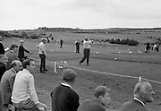 Harry Bradshaw (Portmarnock) drives off from the 1st tee in a round with N.C. Lynch (Sutton) on the Saturday at the Irish Dunlop £1,000 Tournament at Tramore Golf Club, Co. Waterford on the 19th August 1967.