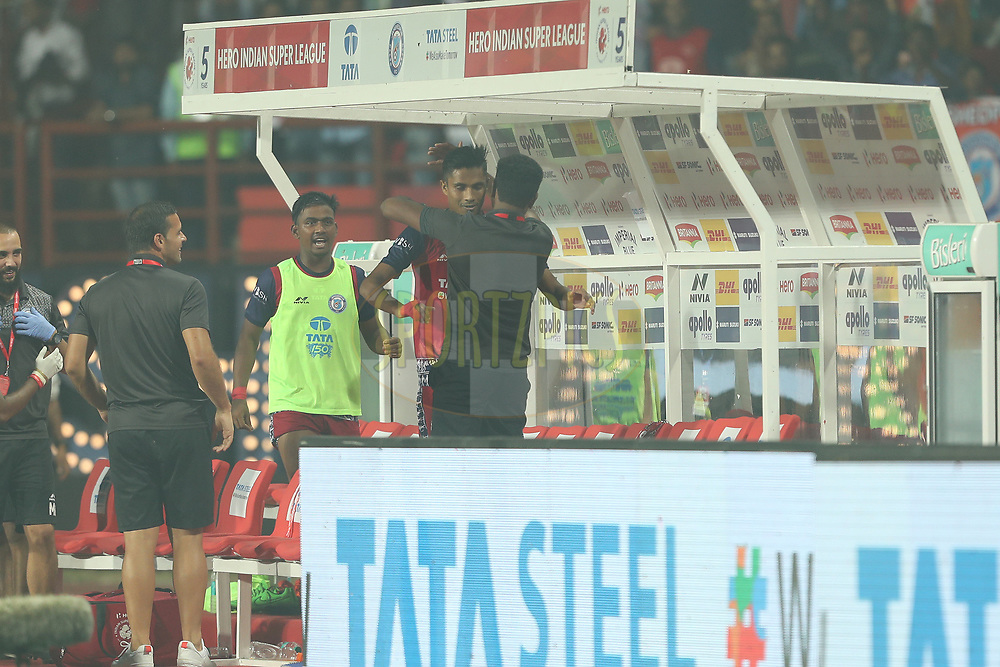Sumeet Passi of Jamshedpur FC celebrates scoring  during match 25 of the Hero Indian Super League 2018 ( ISL ) between Jamshedpur FC and FC Goa held at JRD Tata Sports Complex, Jamshedpur, India on the 1st November  2018<br /> <br /> Photo by: Ron Gaunt /SPORTZPICS for ISL