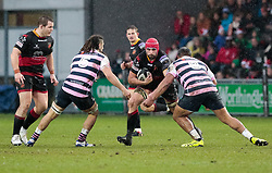 Dragons' Cory Hill under pressure from Cardiff Blues' Josh Navidi and Nick Williams<br /> <br /> Photographer Simon King/Replay Images<br /> <br /> Guinness Pro14 Round 11 - Dragons v Cardiff Blues - Tuesday 26th December 2017 - Rodney Parade - Newport<br /> <br /> World Copyright © 2017 Replay Images. All rights reserved. info@replayimages.co.uk - www.replayimages.co.uk