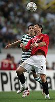 Photo: Paul Thomas.<br /> Sporting Lisbon v Manchester United. UEFA Champions League Group F. 19/09/2007.<br /> <br /> Cristiano Ronaldo (R) of Utd battles with Simon Vukcevic.