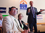 31 OCTOBER 2010 -  KINGMAN, AZ: Manuel Cruz, Penny Kotterman and Terry Goddard campaign at Calico's Restaurant in Kingman. Goddard, and the other Democrats on the statewide ticket, campaigned in Window Rock and Kingman on Halloween. Goddard ended the day with a press conference in front of the Executive Office Tower at the State Capitol in Phoenix. Goddard lost the election to sitting Governor Jan Brewer, a conservative Republican.     PHOTO BY JACK KURTZ