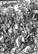 The Entombment.  Woodcut by Albrecht Durer  from his series of seven woodcuts for The Great Passion c1497-1500
