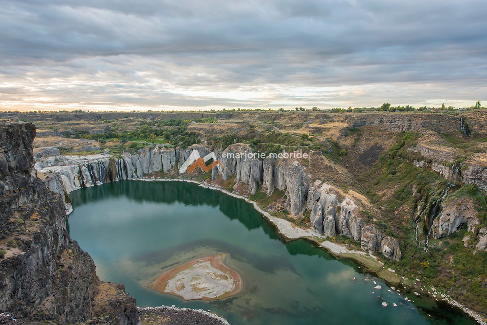 View of the Snake River and Shoshone Falls from the North or Jerome side of the canyon. Twin Falls, Idaho.