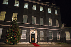 London, UK. 3 December, 2019. A red carpet outside 10 Downing Street in advance of a reception for NATO leaders on the eve of the military alliance's 70th anniversary summit at a luxury hotel near Watford.