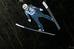 Juliane Seyfarth of Germany soaring through the air during Trial Round at Day 1 of World Cup Ski Jumping Ladies Ljubno 2019, on February 8, 2019 in Ljubno ob Savinji, Slovenia. Photo by Matic Ritonja / Sportida