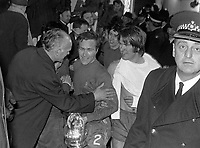 Fotball<br /> England<br /> Foto: Colorsport/Digitalsport<br /> NORWAY ONLY<br /> <br /> Chelsea historikk<br /> Ron Harris (no.2) is congratulated by Ron Stuart after recieving the FA Cup Trophy with David Webb (right). Chelsea v Leeds United, FA Cup Final Replay, Old Trafford, 29/04/1970.
