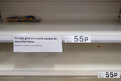 © Licensed to London News Pictures. 09/03/2020. Salford, UK. A branch of Tesco in Salford is rationing some supplies as customers panic buy essentials , including toilet paper, pasta and hand sanitiser . Empty shelves in supermarkets as people stock up in fear of quarantine measures and shortages as the current Coronavirus ( COVID-19 ) spread starts to impact more people . Photo credit: Joel Goodman/LNP