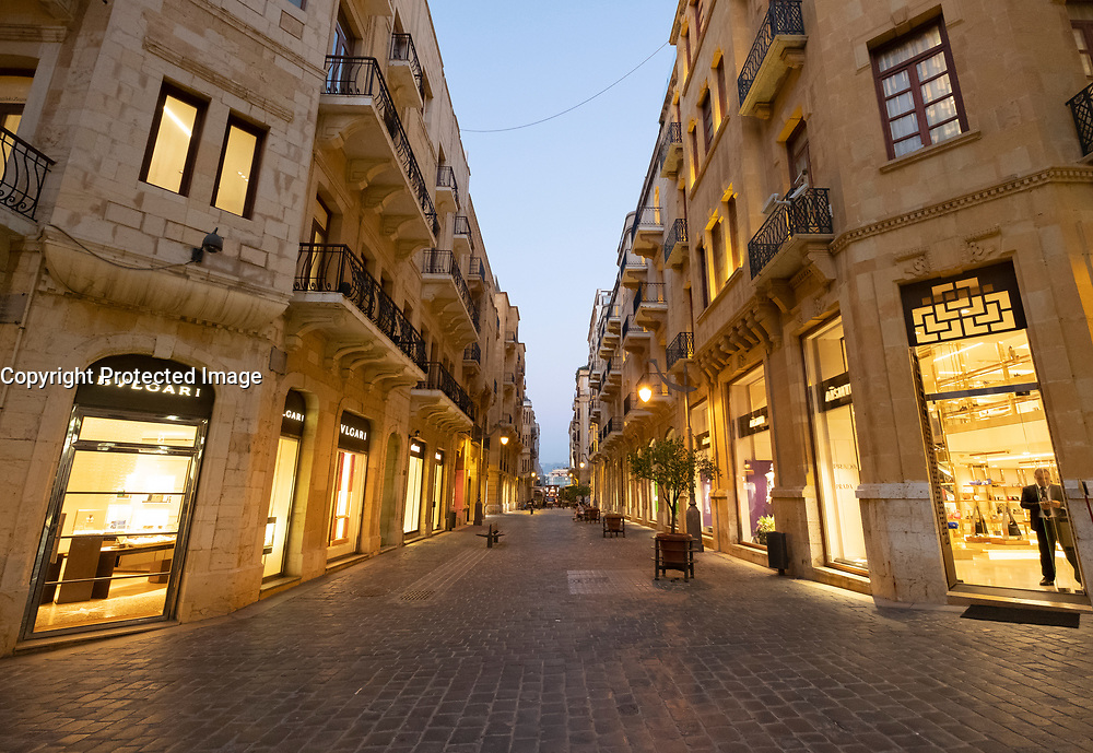 Fashion boutiques on street in restored Downtown district Beirut, Lebanon