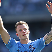 NEW YORK, NEW YORK - May 29:  Frederic Brillant #13 of New York City FC salutes the crowd after scoring during the New York City FC Vs Orlando City, MSL regular season football match at Yankee Stadium, The Bronx, May 29, 2016 in New York City. (Photo by Tim Clayton/Corbis via Getty Images)