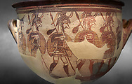 'House of Warriors Vase' : Pictoral Mycenaean Krater depicting Mycenaean soldiers in full armour, Mycenae Acropolis, 12th Cent BC.  National Archaeological Museum Athens. Cat no 1426.  Grey art Background <br /> <br /> This large pictoral Mycenaean Krater depicts Mycenaean soldiers full armed with helmet, cuirass, greaves, shield and spaer as they depart for war. This is a superb example of Mycenaean pictoral pottery .<br /> <br /> If you prefer to buy from our ALAMY PHOTO LIBRARY  Collection visit : https://www.alamy.com/portfolio/paul-williams-funkystock/mycenaean-art-artefacts.html . Type -   Athens    - into the LOWER SEARCH WITHIN GALLERY box. Refine search by adding background colour, place, museum etc<br /> <br /> Visit our MYCENAEN ART PHOTO COLLECTIONS for more photos to download  as wall art prints https://funkystock.photoshelter.com/gallery-collection/Pictures-Images-of-Ancient-Mycenaean-Art-Artefacts-Archaeology-Sites/C0000xRC5WLQcbhQ