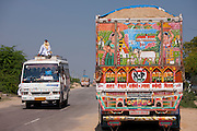 Road scene and decorated Tata truck at Rasulpura in  Sawai Madhopur, Rajasthan, Northern India