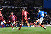 Goal - Ronan Curtis (11) of Portsmouth scores a goal to give a 1-0 lead during the EFL Sky Bet League 1 match between Portsmouth and Ipswich Town at Fratton Park, Portsmouth, England on 21 December 2019.