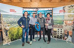 #55, Seefeld, AUT, KVÖ, Präsentation IFSC Austria Climbing Open 2020 Innsbruck, Pressekonferenz, im Bild v.l. Heiko Wilhelm KVOE Geschaeftsfuehrer, Florian Phleps (Geschaeftsfuehrer Tirol Werbung), Jakob Schubert KVOE Nationalteam, Karin Seiler Direktorin Innsbruck Tourismus // v.l. Heiko Wilhelm KVOE Geschaeftsfuehrer, Florian Phleps (Geschaeftsfuehrer Tirol Werbung), Jakob Schubert KVOE Nationalteam, Karin Seiler Direktorin Innsbruck Tourismus during a press conference of Austrian Climbing Association for the Presentation IFSC Austria Climbing Open 2020 Innsbruck in Seefeld, Austria on. EXPA Pictures © 2020, PhotoCredit: EXPA/ Stefan Adelsberger