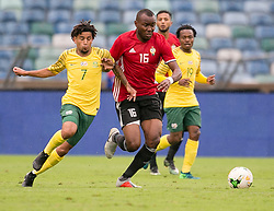 Durban. 080918. Keagan Larenzo Dolly of South Africa battles for the the ball during the 2019 Africa Cup of Nations qualifying match between South Africa and Libya at Moses Mabhida Stadiium in Durban,South Africa. Picture Leon Lestrade. African News Agency. ( ANA ).