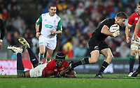 Rugby Union - 2017 British & Irish Lions Tour of New Zealand - Second Test: New Zealand vs. British & Irish Lions<br /> <br /> Maro Itoje of The British and Irish Lions tackles Beauden Barrett of The All Blacks  at Westpac Stadium, Wellington.<br /> <br /> COLORSPORT/LYNNE CAMERON