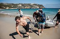Landing Dinghy boat on beach, Cuyler Harbor, San Miguel Island, Channel Islands National Park, California
