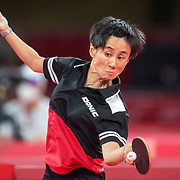 TOKYO, JAPAN - JULY 24:  Jia Liu of Austria in action against  Hend Zaza, 12, of Syria, the youngest competitor in the Olympic Games in the Women's Singles  Preliminary Round in the Tokyo Metropolitan Gymnasium at the Tokyo 2020 Summer Olympic Games  on July 24, 2021 in Tokyo, Japan. (Photo by Tim Clayton/Corbis via Getty Images)
